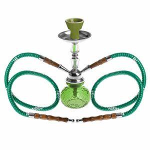 HIBRON ® Crystal Waterpipe Chicha Chicha Hookah 27 cm (vert, 2 tuyaux)