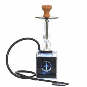 N A Ensemble de narguilé Portable, narguilé en Acrylique Cube Moderne avec diffuseur de lumière LED à Distance Magique pour Un Meilleur tabagisme de narguilé Shisha