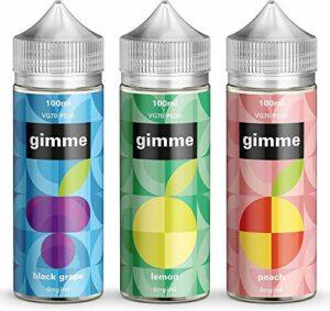 Triple Pack – 100ml Raisin + Citron + Pêche E-liquide, 70/30, Vape Juice, Sans nicotine ni tabac, Bouteille 120ml (Gimme E-Liquid)