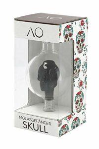 AO® Chicha Récupérateur de mélasse en verre SKULL | En forme de tête de mort | Cut 18.8 | Pré-Refroidisseur Narguilé (Noir)