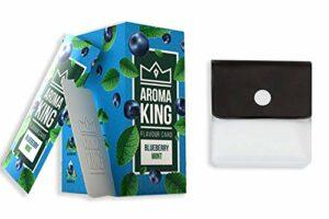 Aroma King Lot de 25 cartes aromatiques Premium Myrtille et menthe pour un goût inoubliable Avec un cendrier de poche de SweedZ