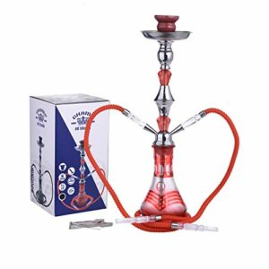 CHAMP – Belle Chicha 2 Tuyaux – Narguilé – Hookah – 55 cm – Design Oriental – Disponible en Rouge, Noir – INOX et Verre – Livrée avec Foyer en céramique, 2 tuyaux Plastique et Pince