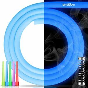 DFESKAH Tuyau en silicone pour chicha Glow – Mat – 150 cm – Avec ressort de protection anti-torsion et embout hygiénique (bleu lumineux)
