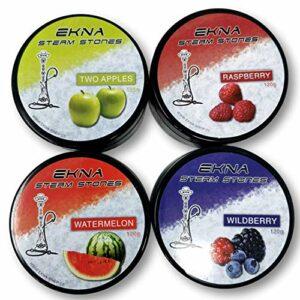 EKNA® Steam Stones Lot de 4 pierres à chicha sans nicotine substitut de tabac et chicha 120 g
