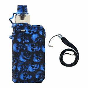 Étui de protection pour cigarette électronique Voopoo Drag Max étui de protection en silicone avec bouclier enveloppant la peau , avec cordon (Blue skull)