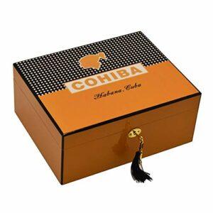 LIXUDECO Humidificateur Boîte humidor Haute Brillante 50~75 CC Cigare Humide boîte à cigares avec hygromètre Puros Habanos (Color : Orange)