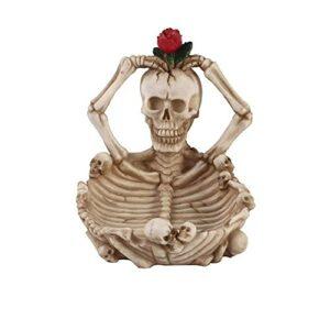 QW Rose Fleur crâne Mode cendrier Bar personnalité résine Artisanat décoration Halloween