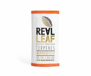 Real Leaf – Mélange naturel d'herbes – Substitut au tabac – 100 % sans nicotine et sans tabac (terpènes – mangue kush, 1 x 20 g)