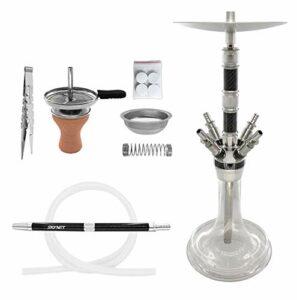 Skynet® Carbonia 2.0 Hookah Set de chicha Hookah 71 cm en acier inoxydable carbone + accessoires   Pipe à eau complet avec embout en carbone tête de narguilé 18/8 (acier inoxydable Carbonia 2.0, noir)
