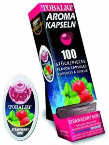 TOBALIQ Lot de 100 capsules aromatiques au goût menthe framboise – Boules aromatiques pour cigarettes de différents goûts – Fumer du parfum – Tubes à clipser dans des boîtes