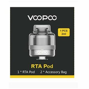 VOOPOO RTA serbatoio | POD cartuccia 2ML bobina singola costruzione RTA serbatoio doppia presa d'aria Atomizzatore per Voopoo Drag X Drag S Vape (nero) Sans nicotine