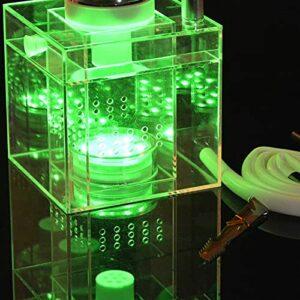 Brokah Set acrylique Kit de shisha avec lumière LED, bol en silicone et tuyau, porte-charbon portatif Set Top grade Square Shisha Durable + Accessoires green