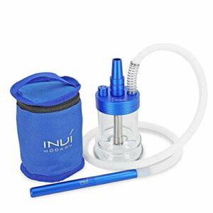 INVI® NANO Aluminium | Narguilé de voyage avec housse étui | Set Tuyau chicha compris (Bleu métalisé)