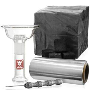 Kaya Lot de 4 têtes en verre 4tex – Tête en verre Vortex amovible – 1 kg de charbon naturel – Rouleau de film d'aluminium de 25 m – Accessoire pour narguilé