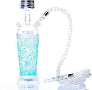 Kit de narguilé portable en acrylique avec lumière LED, tuyau et narguilé – Kit complet pour chicha – Petit narguilé – 5 couleurs disponibles – Bleu