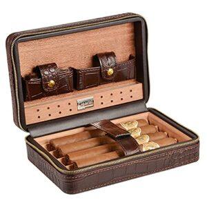 mode Étui de cigare Humidor Coque Crocodile Modèle de voyage Transporel Carrelage Sac de rangement, cèdre de cèdre Détartrée de cèdre de cèdre et de cèdre amovible jusqu'à 4 cigares ( Color : Brown )