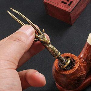 Outil de Cure-Pipes de Tabac – Barre de Pression de Pipe de Tabac à Fumer sculptée en Bronze – Outil de bourreur de Nettoyeur de buse de Tabac à Fumer