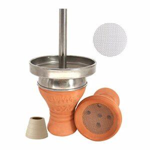 Shisha King® Tête de chicha en argile de qualité supérieure + accessoires   Embout de cheminée V2A + joint de tête + passoire en acier inoxydable gratuit   beaucoup de fumée ✓ goût intense ✓