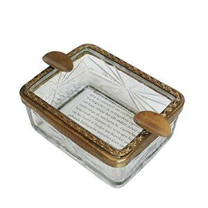 Sxcespp Cendrier en verre de haute qualité, dentelle en laiton, 2 porte-cigares, cendrier à cigarettes facile à nettoyer intérieur ou extérieur, adapté à la maison, au bureau, à la décoration de la ma