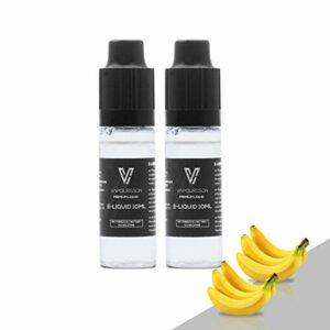 VAPOURSSON 2 X 10ml E-Liquide – Banane – 2 Pack Saveur Super forte avec uniquement des Ingrédients à Teneur élevée – Pour La Cigarette Electronique et la E Shisha – Eliquide