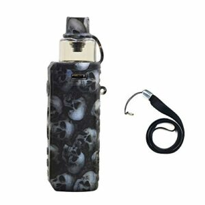 VOOPOO DRAG S Device Holster Silicone Protective Case Cover Shield Wrap Skin, With Lanyard (Black skull)