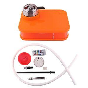 Hookah Shisha Set Complet Set Portable Hookah avec LED Pipe Acrylique Acrylique Kit de Tuyau Set Complet Kit Complet, Facile à Nettoyer léger et Portable, à la maiso Orange