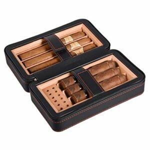 LONGWDS Etui à cigares 6 paquets de surface en cuir doublure en bois de cèdre importé avec humidificateur température et une humidité constantes boîte cadeau Compatible with les hommes Voyage d'épaiss