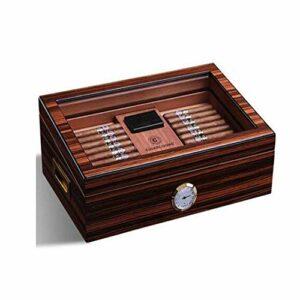LONGWDS Etui à cigares Cigarette Box, charnière Hydratante Mellow cèdre Bois Métal Box Piano Peinture de Grande capacité boîte à cigares, Cadeaux, Durable (Couleur: Brun, Taille: 28,3 * 43 * 17cm)