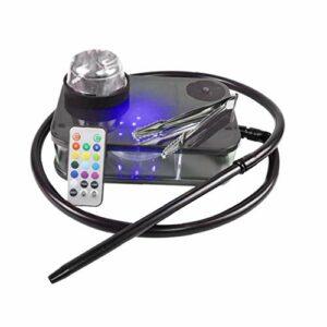 Shisha Tuyau moderne acrylique Kit complet Portable Shisha Narguilé eau avec boîte à lumière LED télécommande (noir)