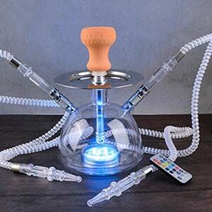 TVVT Vase en verre avec 2 pipes Hukahn – Kit pour narguilé – Tasses à eau avec lumières LED – Léger portable en acrylique – Bars hôtels B