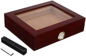 X&Y Humidors de cigares, Cèdre Travel Cigary Humidor Boîtes de Rangement avec hygromètre Hygromètre Humidor Cigare Accessoire Boîte Humidors Fit en Bois (Couleur: Brown) (Color : Brown)