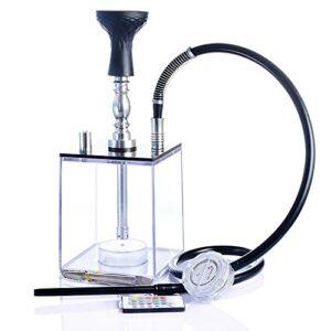 CREACEC Shisha Shisha Set de narguilé en acrylique avec boîtier carré transparent LED avec tuyau et télécommande Blanc