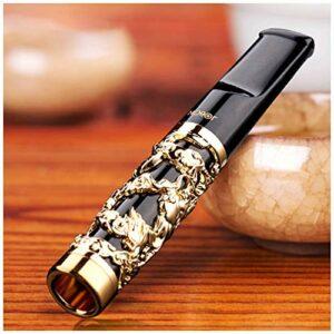 YLJJ Porte-Cigarette en métal, Porte-Cigarette Circulaire Creux à Motif Dragon de Haute qualité, Porte-Cigarette à Filtre à Tige de tirage Lavable, pour Cigarettes Standard