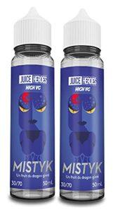Lot de 2 fioles de e-liquide Heroes Mistyk – 50ml – Liquideo (sans Nicotine ni Tabac)