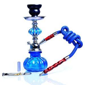 WJP Brochette De Verre Socle Shisha Pipe Set Nargile Chicha avec Bol Narguile Tuyau Pince De Charbon De Bois pour Fumer(Color:Bleu)